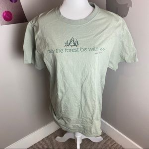 NWOT GREEN MAY THE FOREST BE WITH YOU MENS TEE